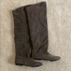 Express women's 6/7 over knee suede boots taupe